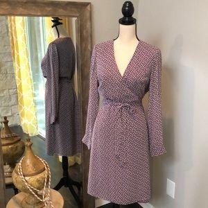 Purple patterned true wrap dress